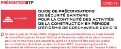 Mise à jour des préconisations de l'OPPBTP au 27 mai 2020