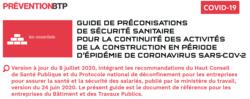 OPPBTP - Mise à jour des préconisations de sécurité sanitaire