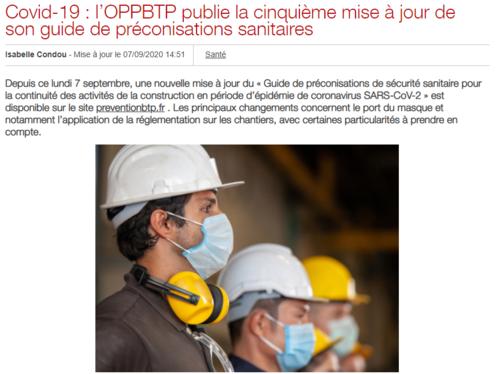 Nouvelle mise à jour du guide de préconisations de l'OPPBTP.